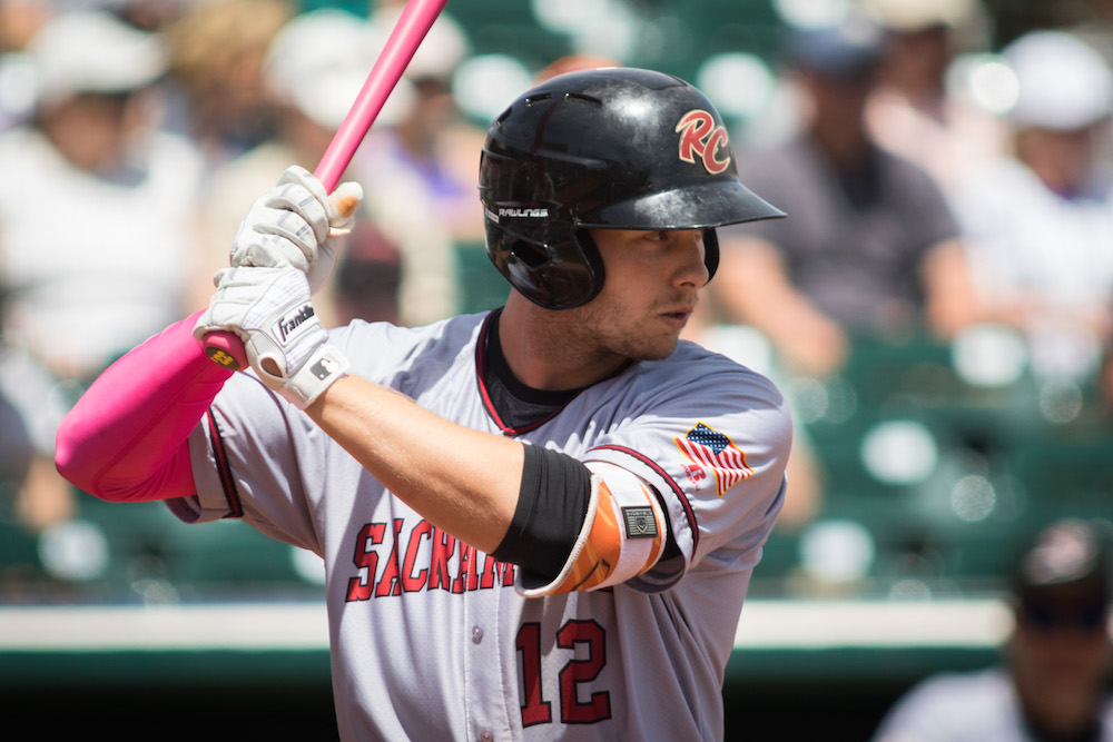 Austin Slater has recorded 13 hits, including four doubles, in his last seven games. (Bobby Stevens/MiLB.com)
