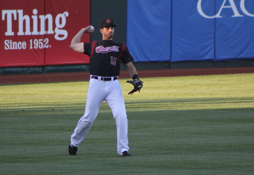 Chris Shaw played left field and batted in the fifth spot in the order during Thursday night's Sacramento River Cats game. (Conner Penfold/Giant Potential)