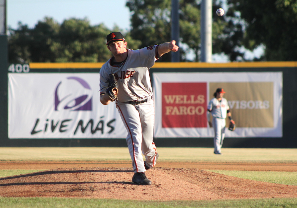 Left-hander Matt Krook allowed two singles and two walks while striking out eight Modesto Nuts hitters. (Conner Penfold/Giant Potential)