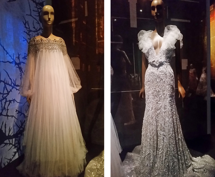 (l to r) Sleeping Beauty, Marchesa evening gown; Zuhair Murad haute couture gown