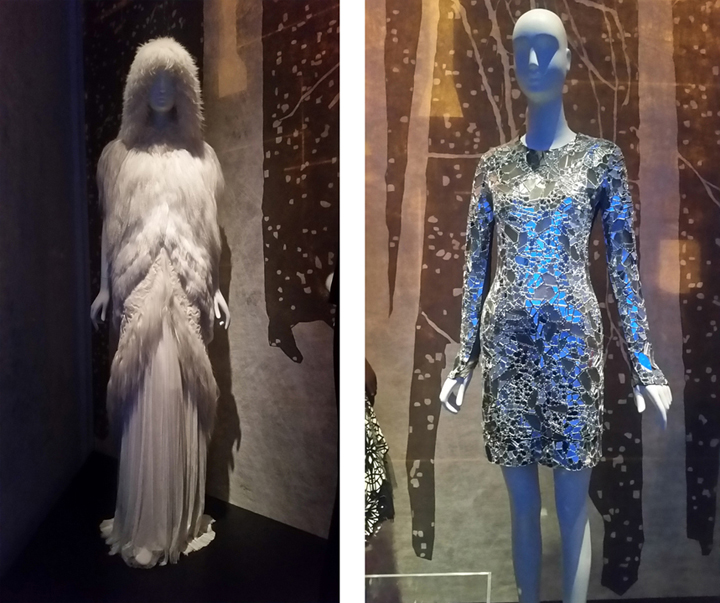 (l to r) The Snow Queen, J. Mendel hooded cape and evening dress;  Tom Ford mirrored dress