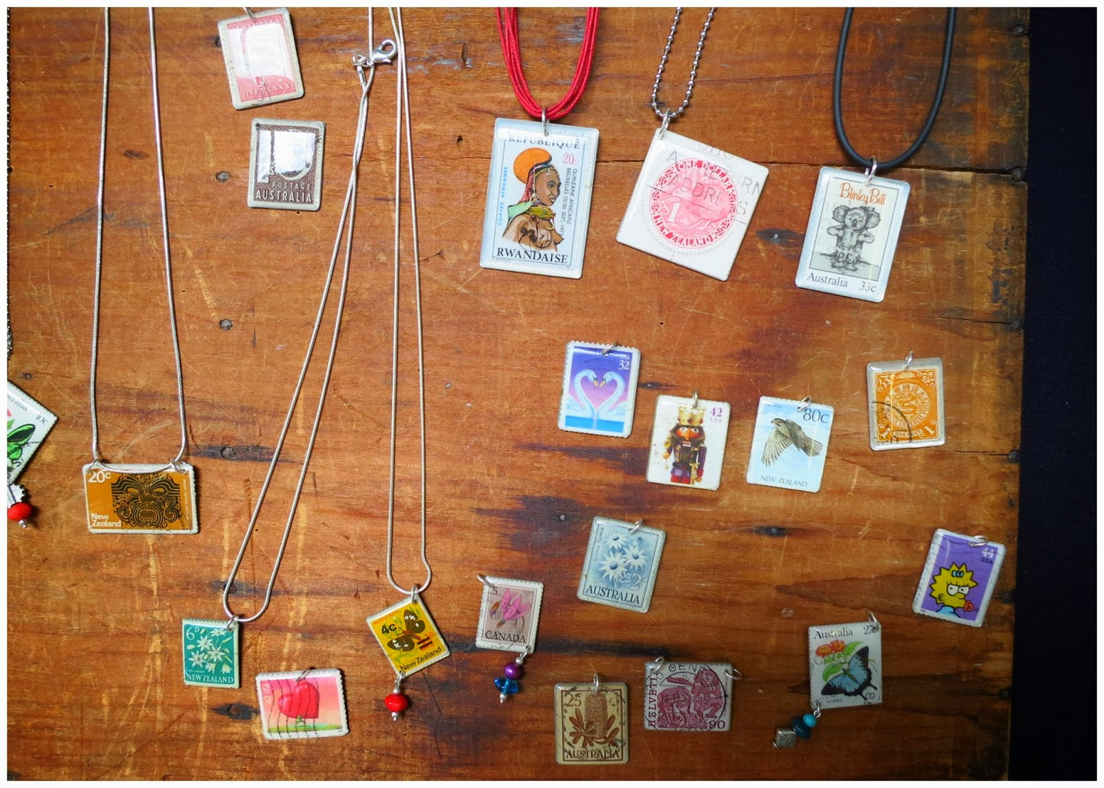 Postage stamp souvenirs at a local market