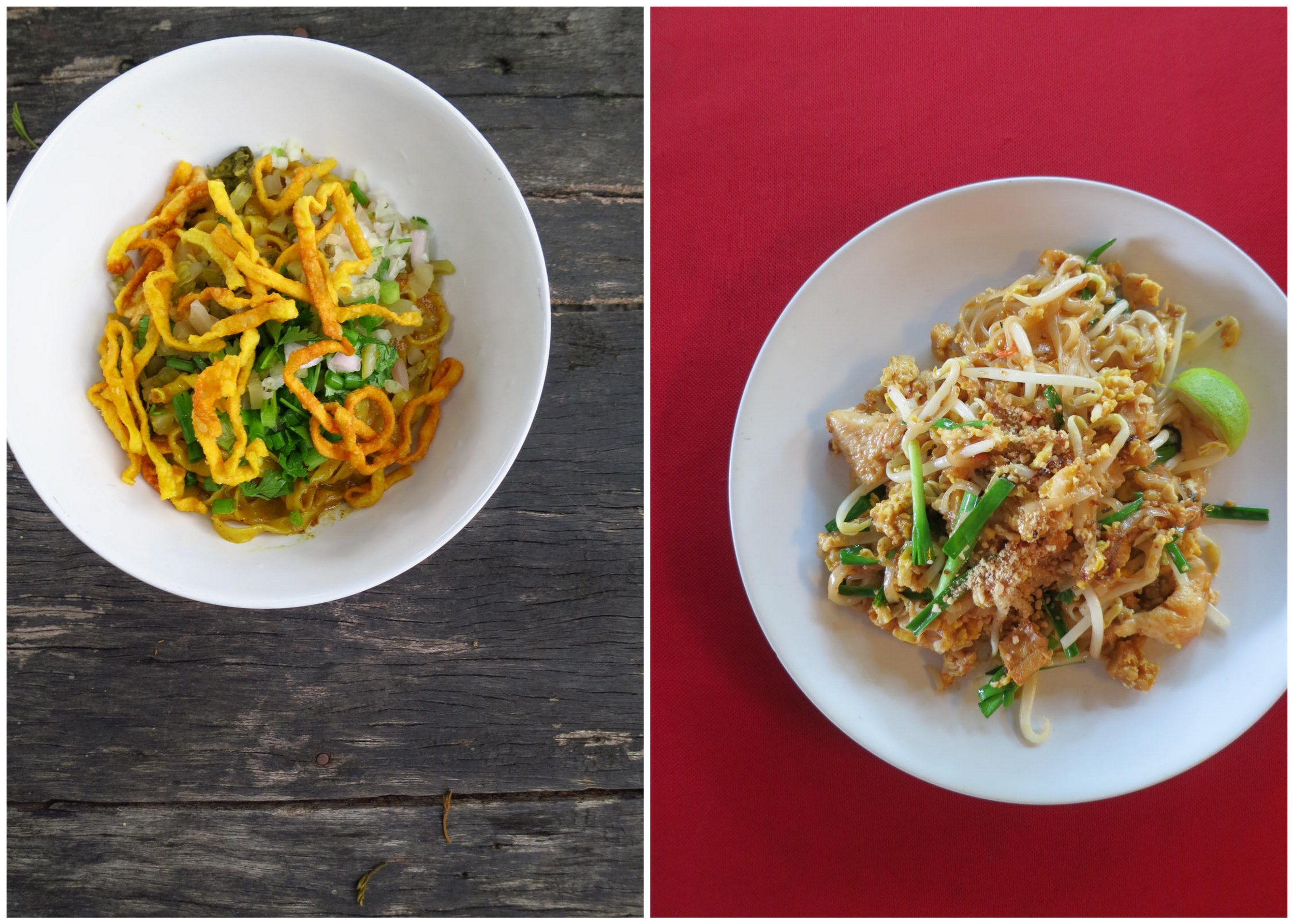 Voila! My first time trying Khao Soi and I instantly fell in love with this regional dish. Coconut milk, curry, and noodles...what more could I ask for? On the right is, of course, Pad Thai because no cooking class is complete without making this.