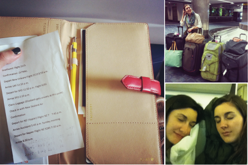 Clockwise from left: the amazing itinerary my dad typed up for us; thrilled to pick up all 4 bags at baggage claim; Gabrielle and I devising a sleep strategy with our armrest before the 12-hour flight.