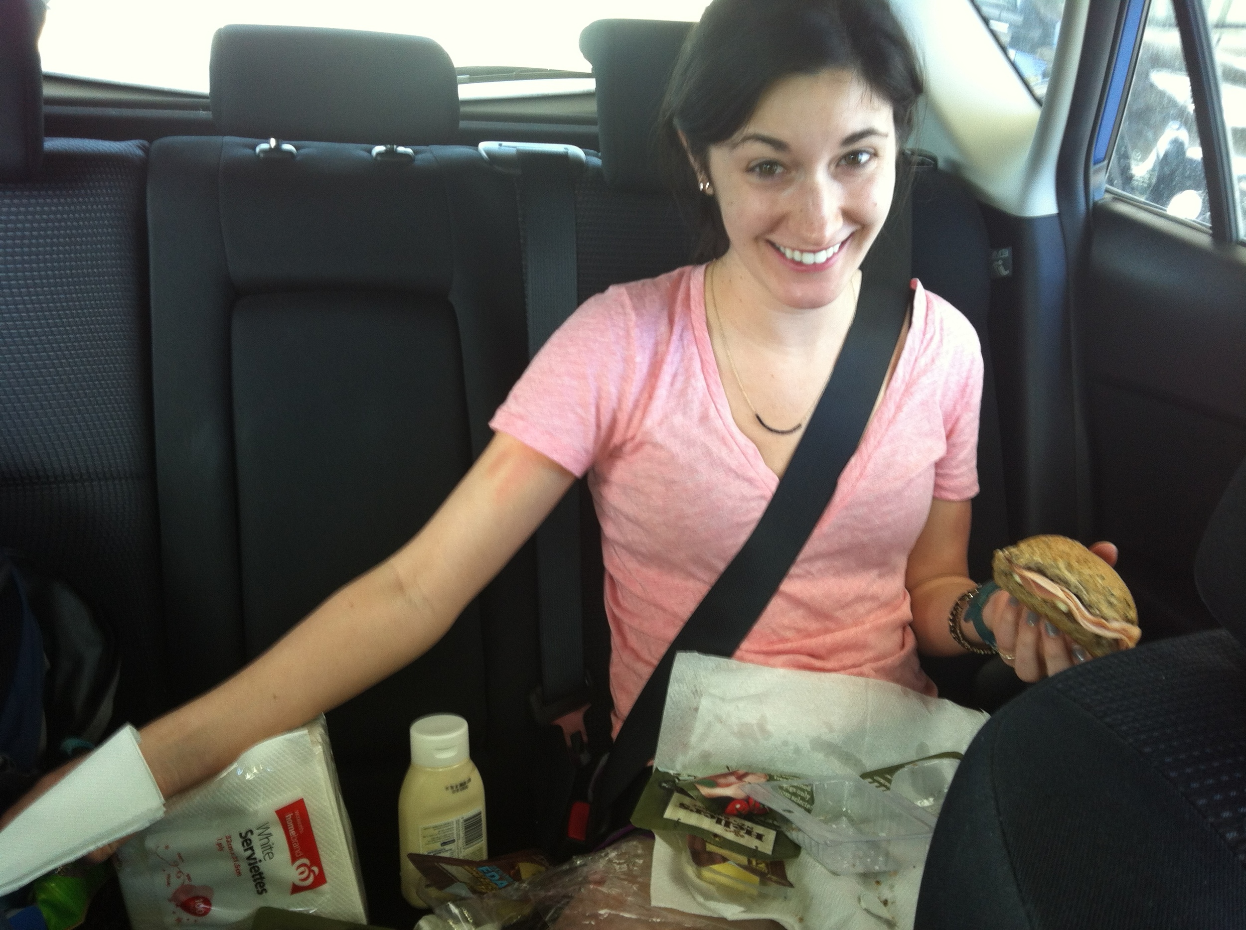 Backseat Deli is in business! On today's menu, ham and cheese sandwiches on seeded whole wheat bun, with hand-dipped (by Gabrielle) peanut-butter prezels.
