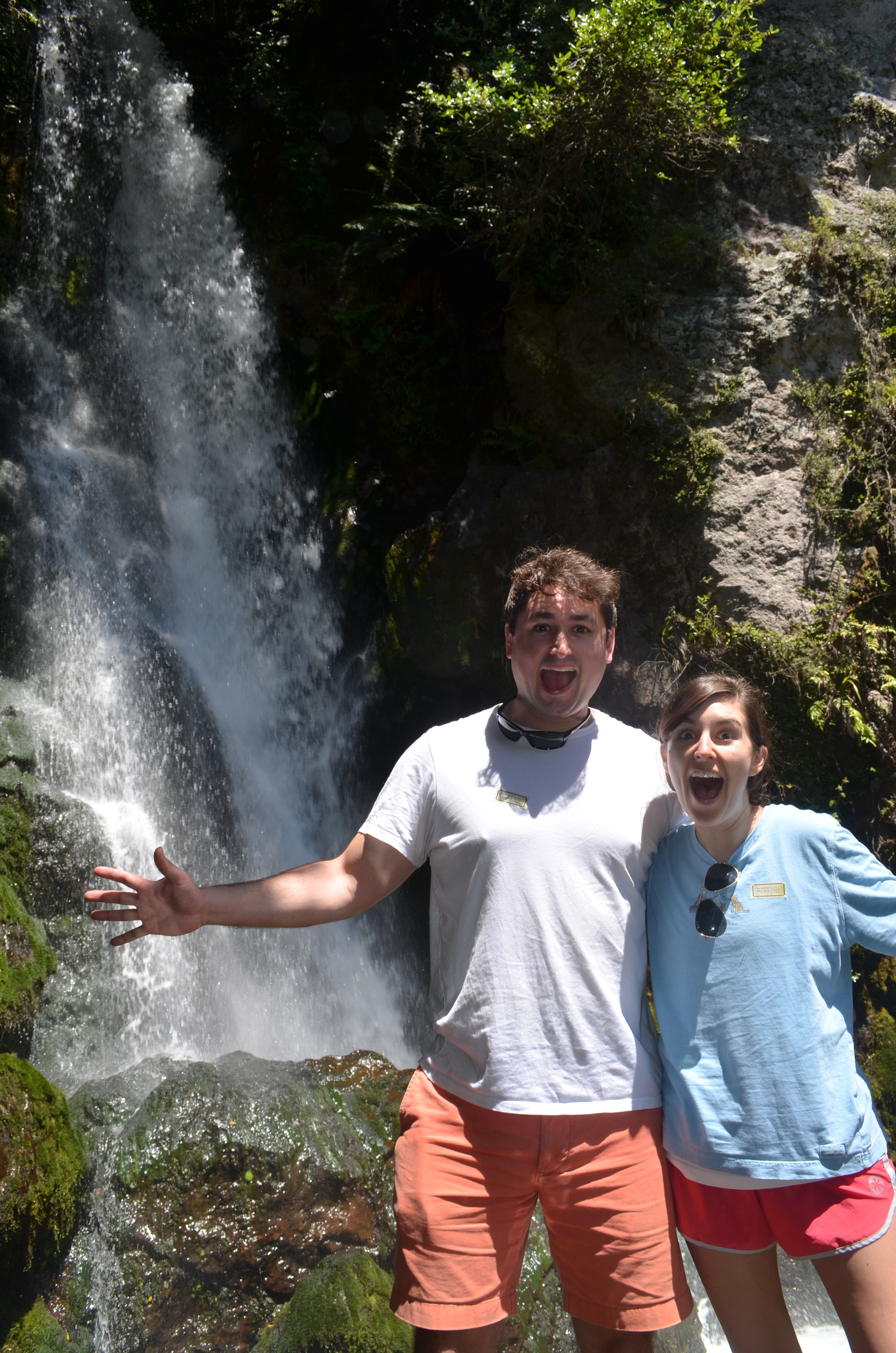 Joe and I being sprayed by the waterfall in the Buried Village.