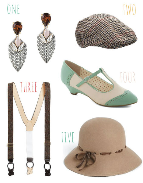 "1) Deco Arrow Earrings,  J.Crew  $114 // 2) Men's Flat Cap,  House of Fraser UK , £15 // 3) Men's Suspenders,  Brooks Brothers  $184 // 4) Care to Dance Wedge in Mint,  Mod Cloth  $64.99 // 5) Eric Javits ""Alixe"" Cloche,  Nordstrom  $178"