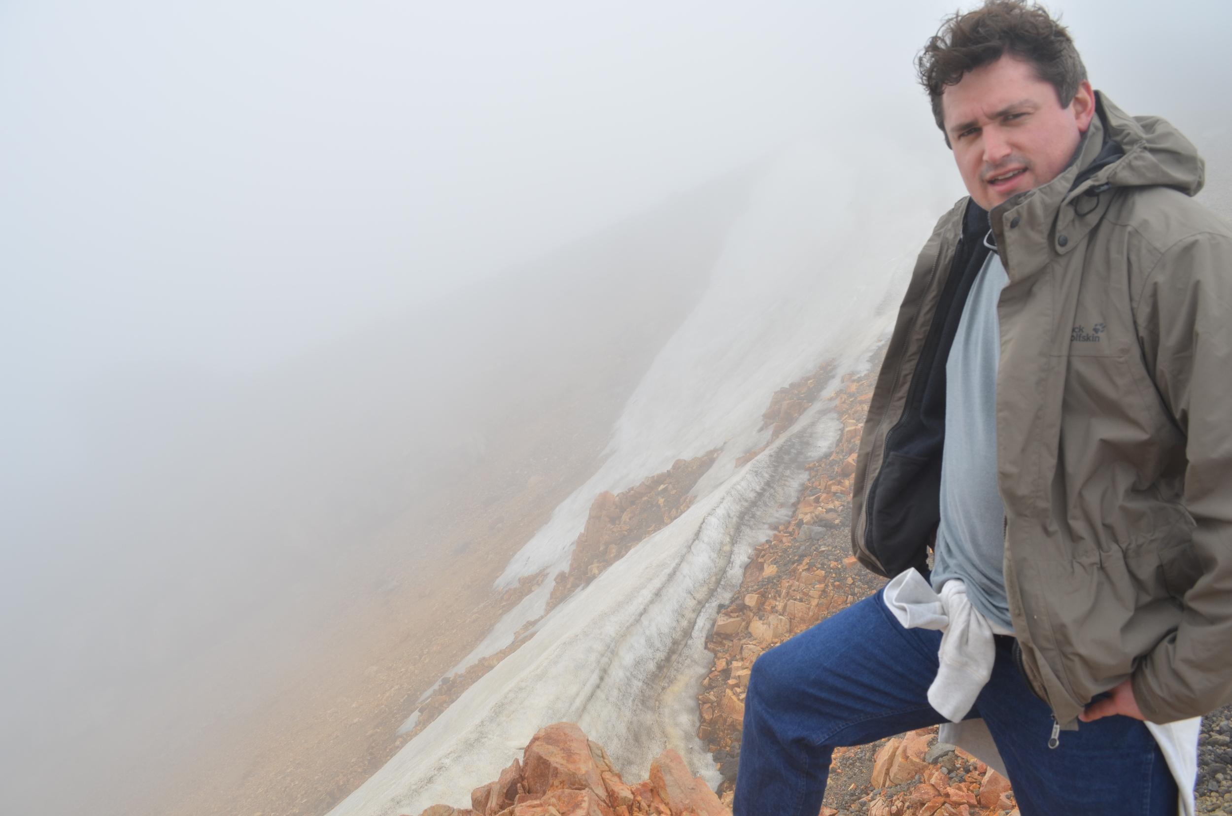 Frozen ice on the peak