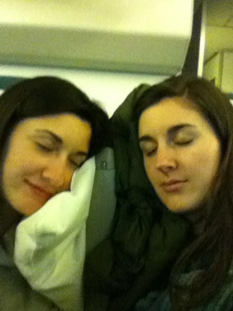 Testing out some sleeping positions before we take off.
