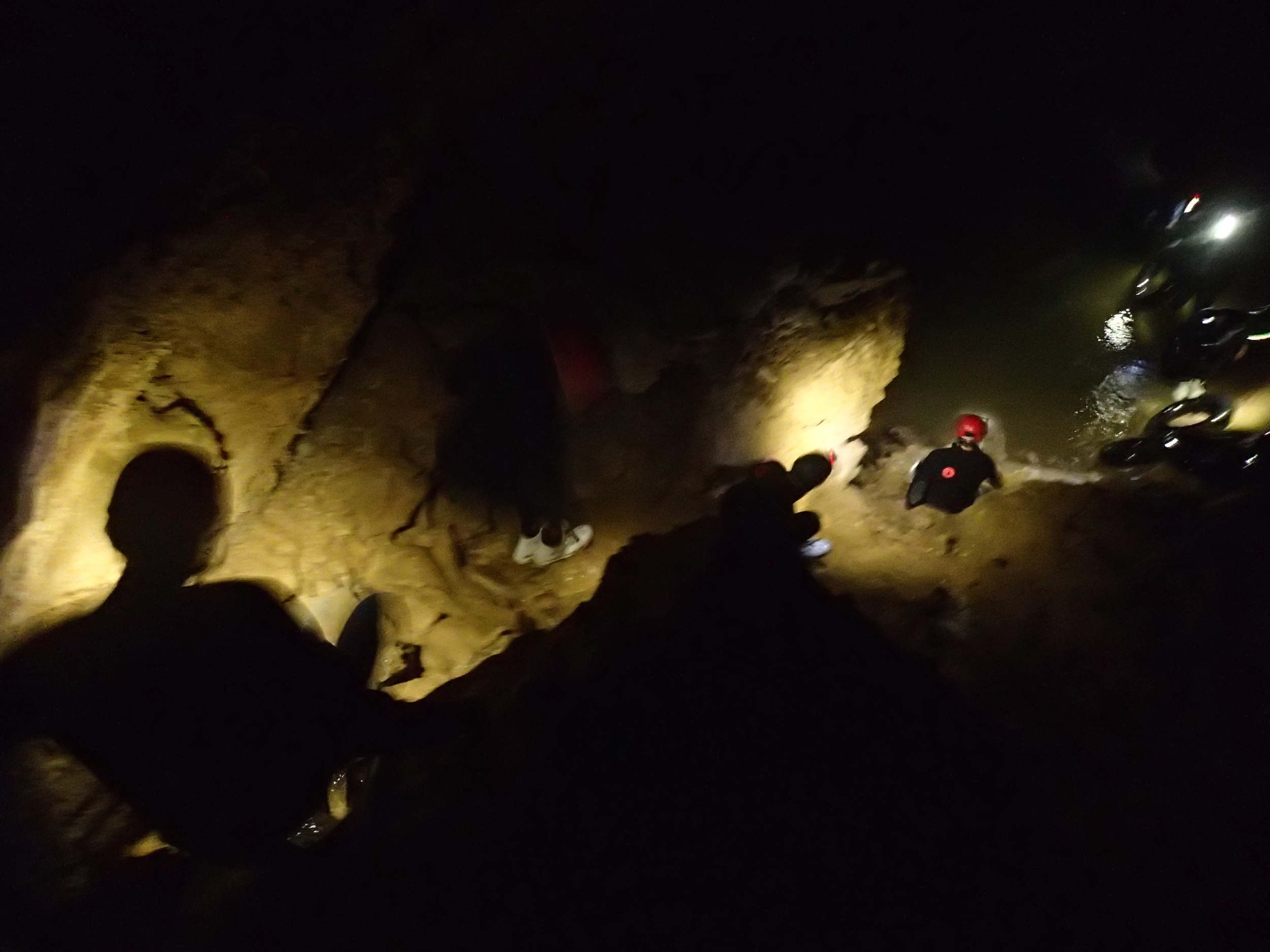 The steep and muddy climb down from the cavern.