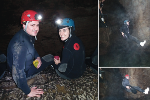 Enjoying cave cookies before jumping in the freezing water.