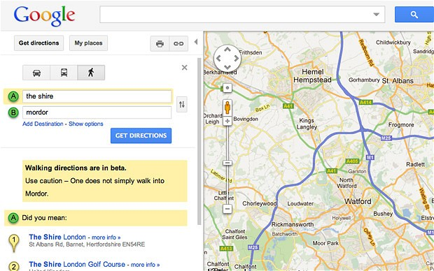 I love that Google even likes to have fun with Mordor.  Source