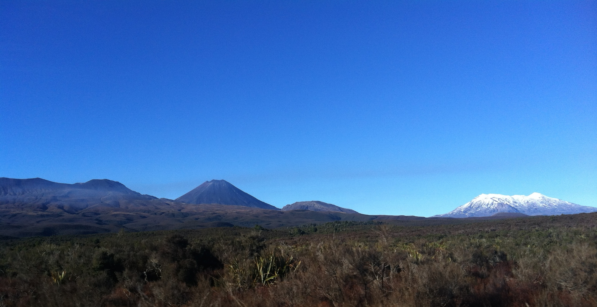 From left to right: Tongariro, Ngauruhoe (Mt. Doom), and Ruapehu