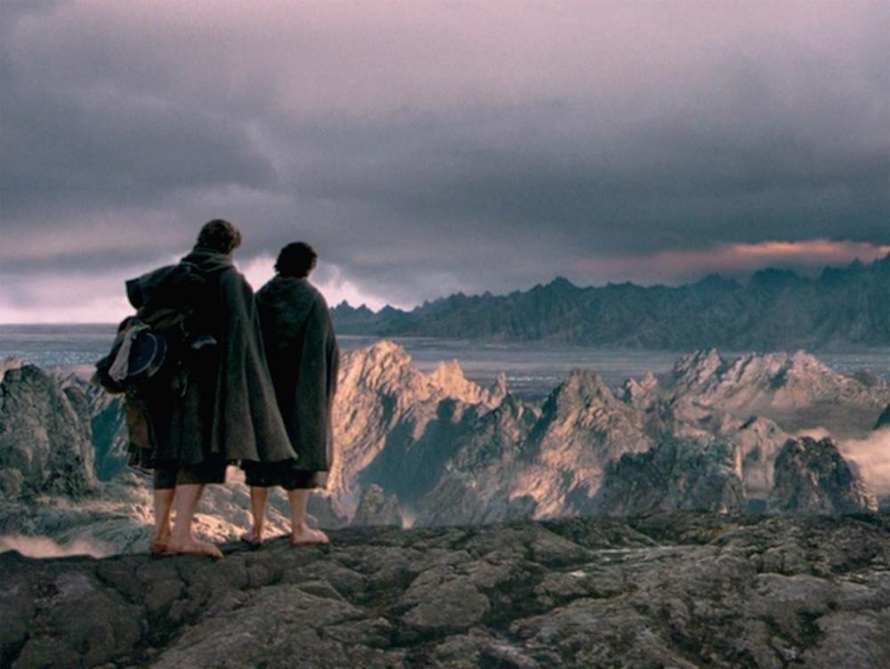 Frodo and Sam travel to Mordor