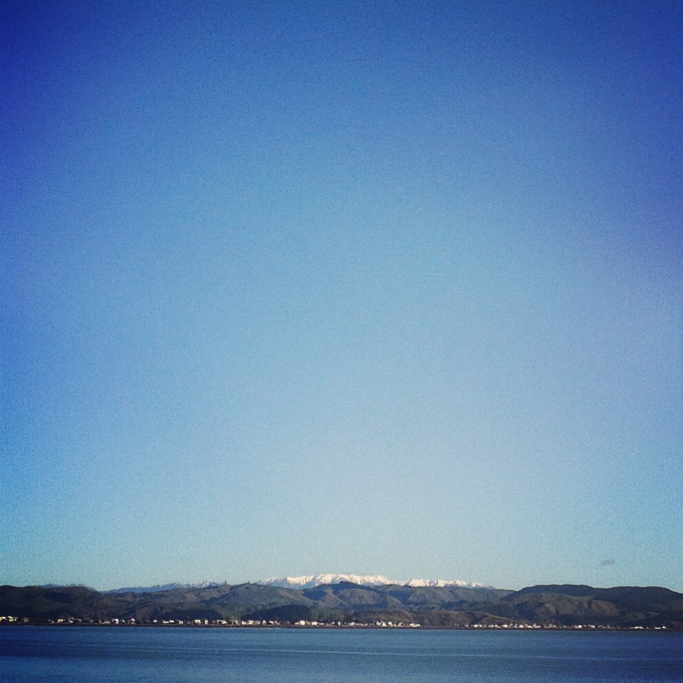 Crisp winter skies and a view of the snowy Kaweka Ranges from Ahuriri.
