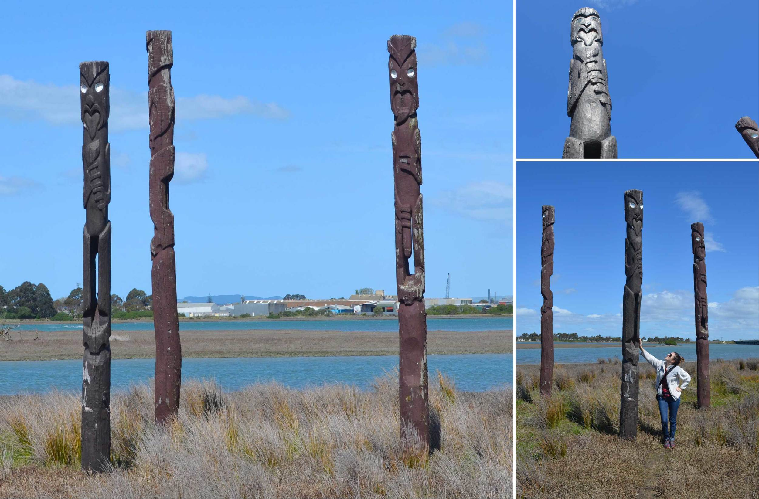We found lots of Maori carvings along the track and in the middle of the estuary.