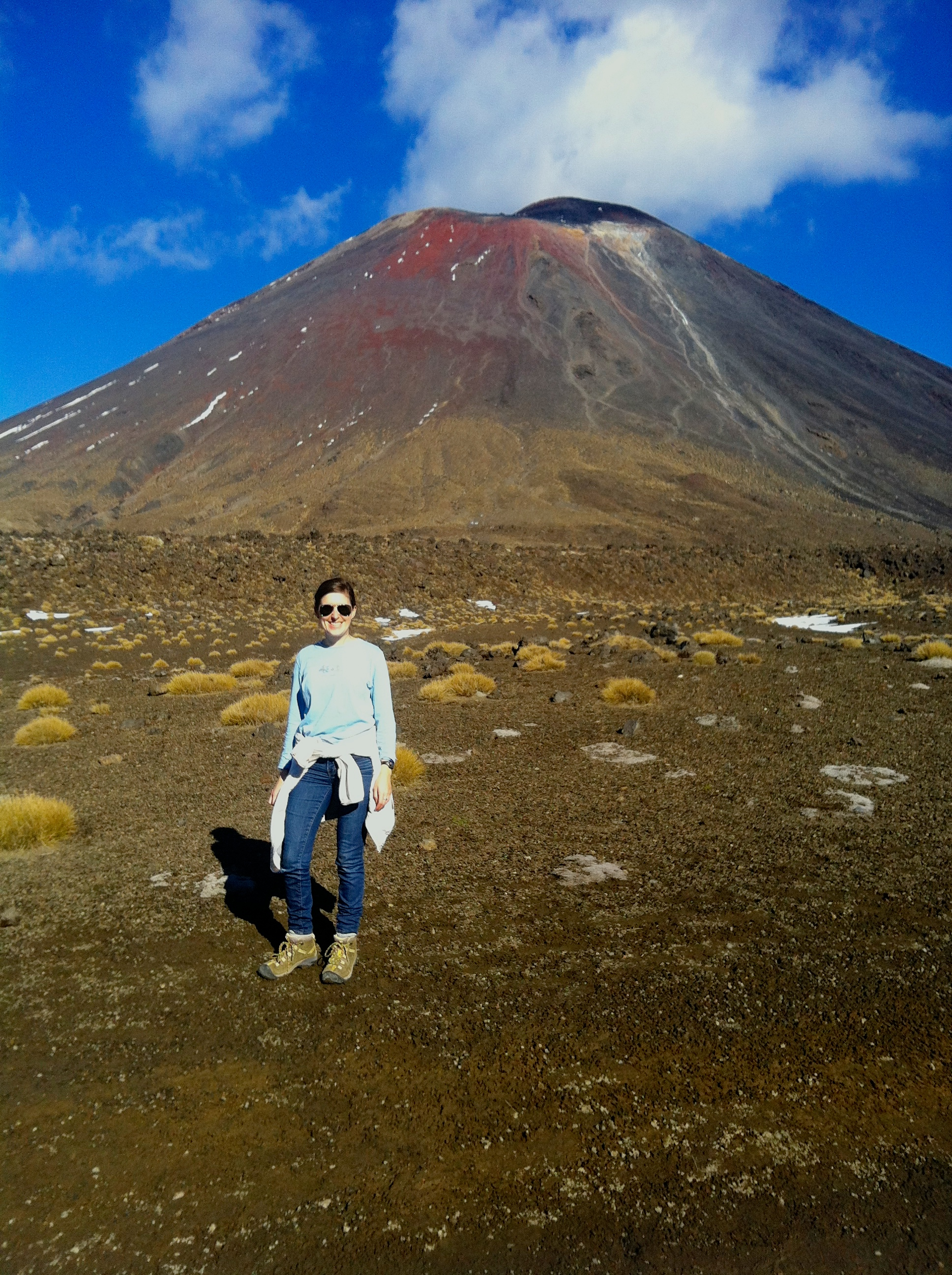 Standing in the south crater during our 8 hour hike across active volcanoes on the Tongariro Crossing.