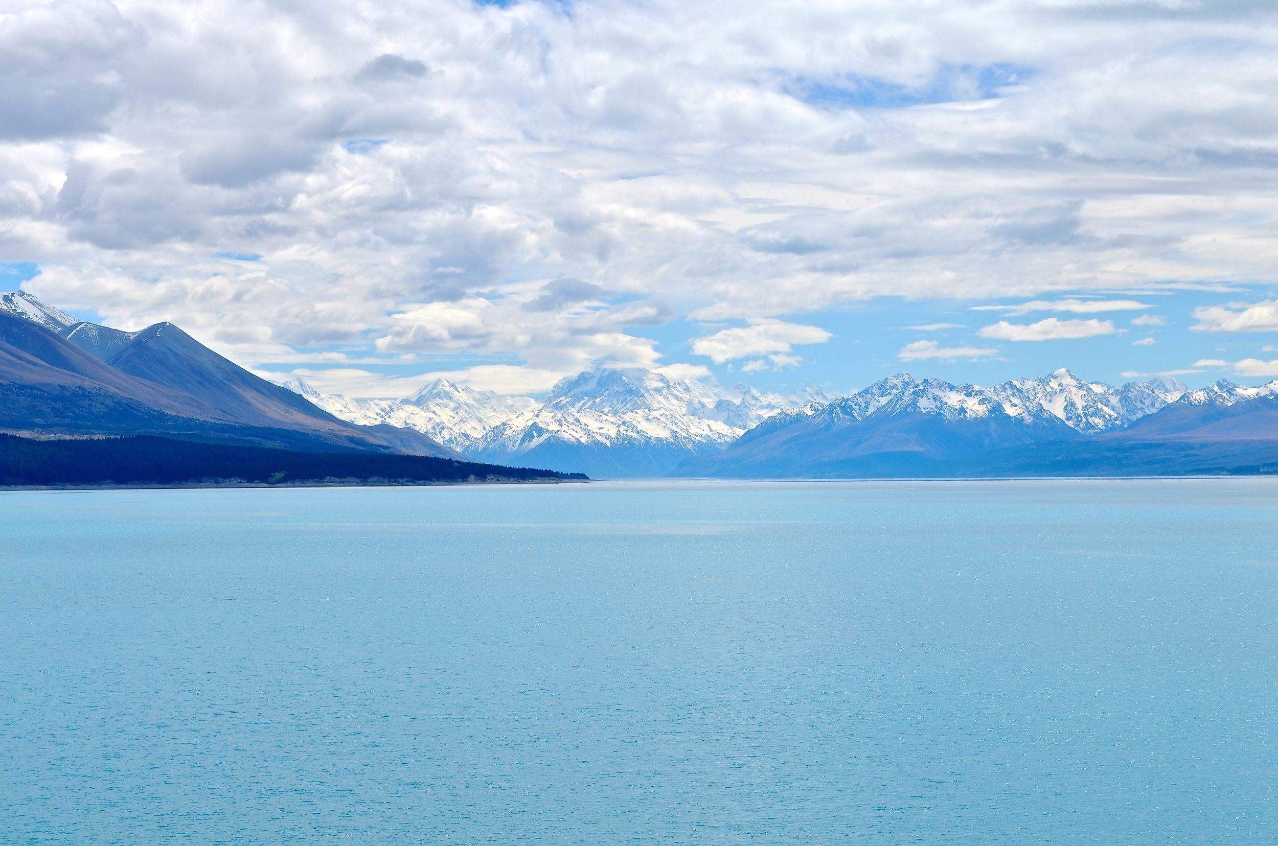 Lake Pukaki with Mount Cook in the background.