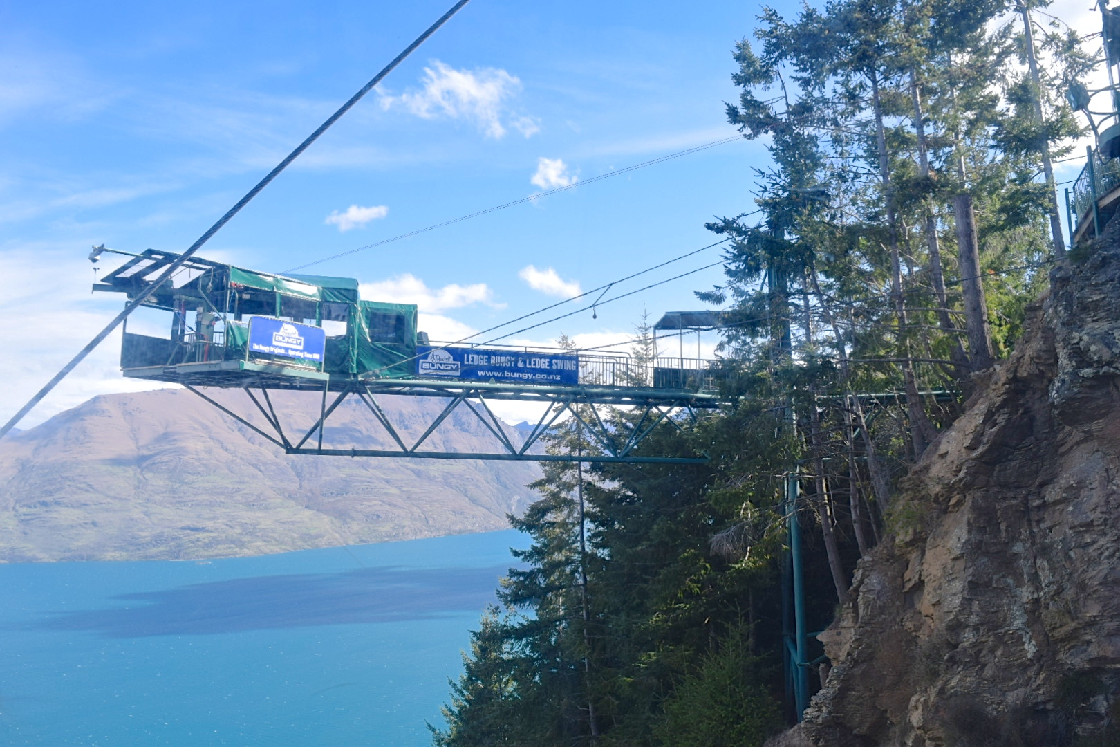 Here's one bungy option - great view, but I'm not sure about jumping off a cliff with all those trees under me.