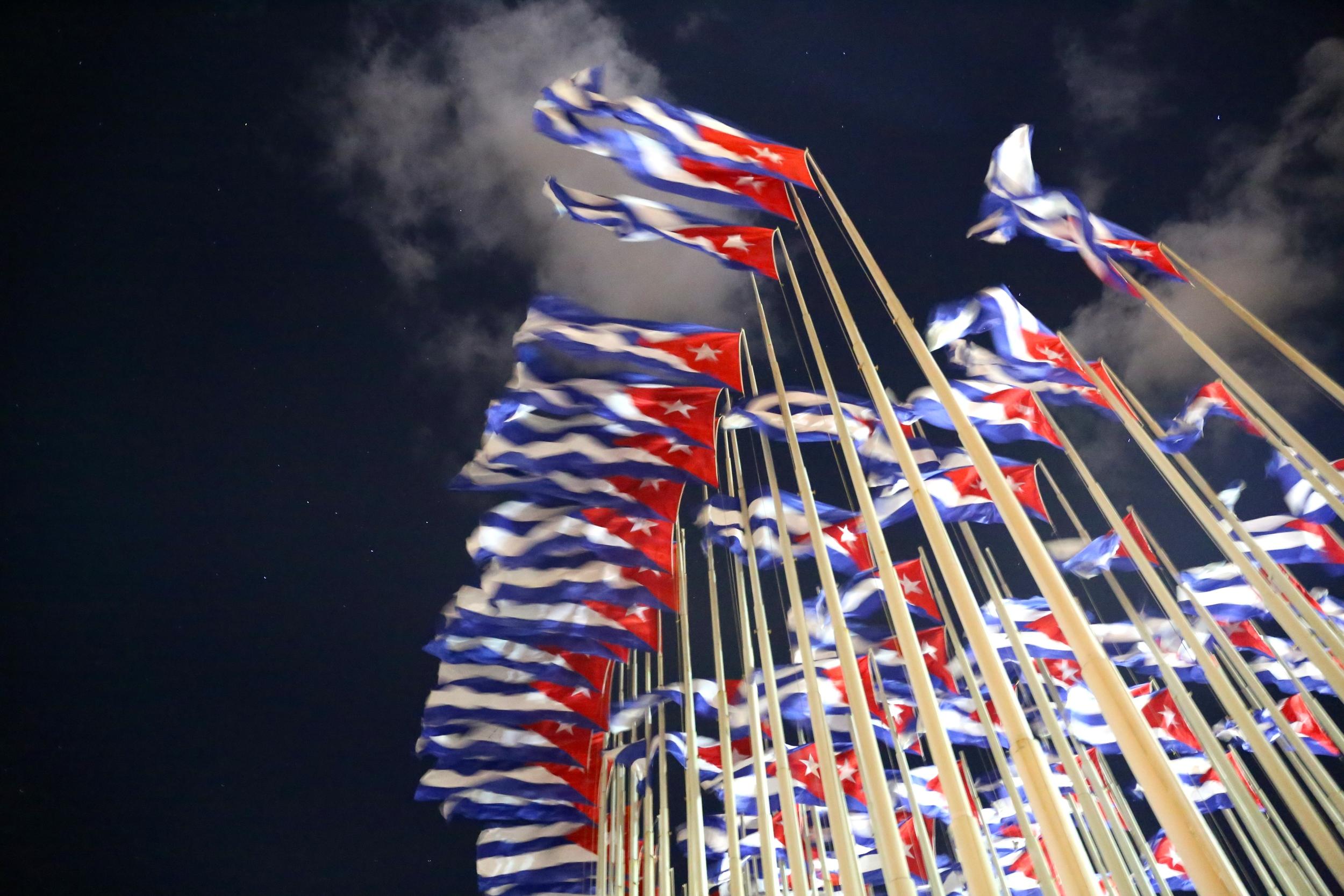 Cuban flags facing the US Embassy