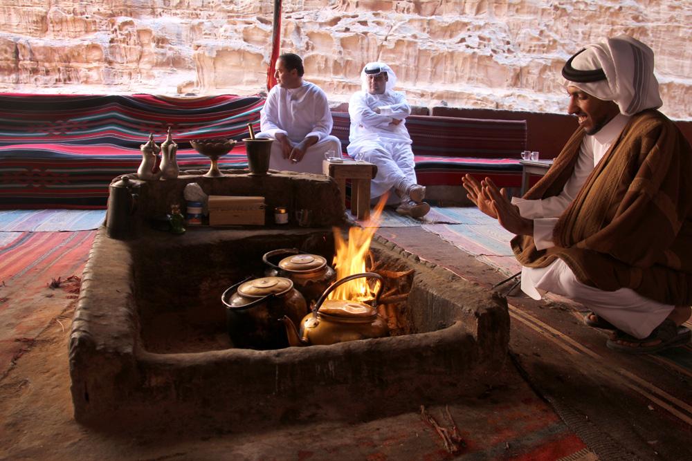 Tea with Bedouin men in Wadi Rum, Jordan