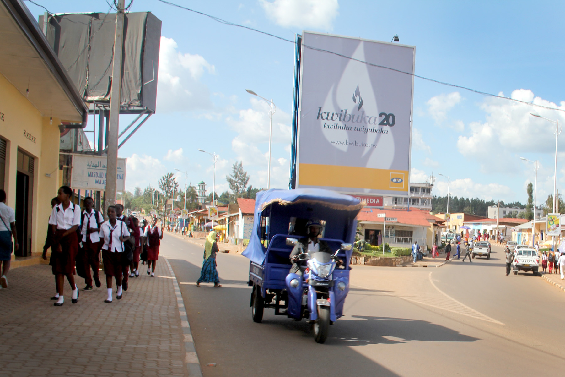 """Signs reading """" Kwibuka """", meaning """"remember"""" in Kinyarwanda, were displayed all around the city."""