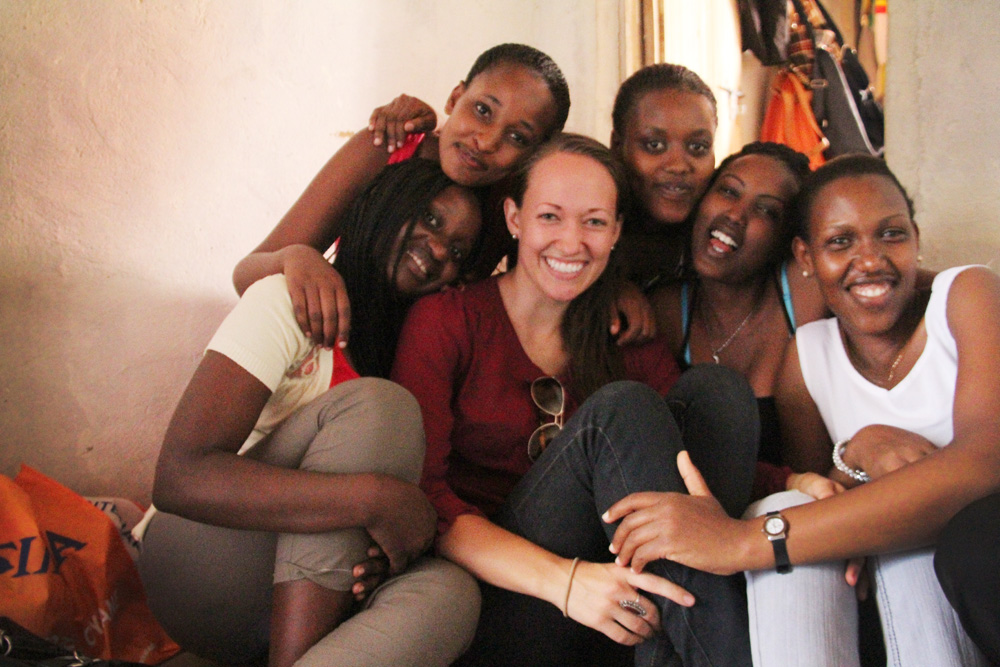 Me with a few of our alumni girls who are all currently in university