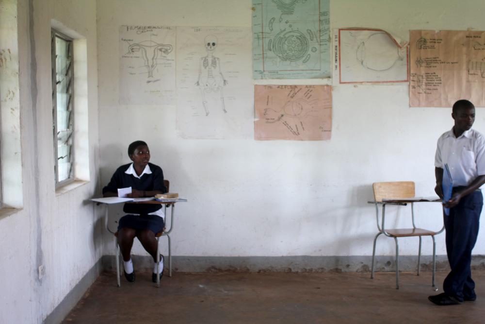 A girl studies sciences at Cornerstone Leadership Academy, Rwanda
