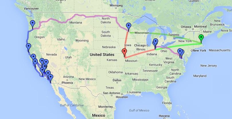 Blue: driving. Purple: train. Red: Eric's flights. Green: Dani's flights.