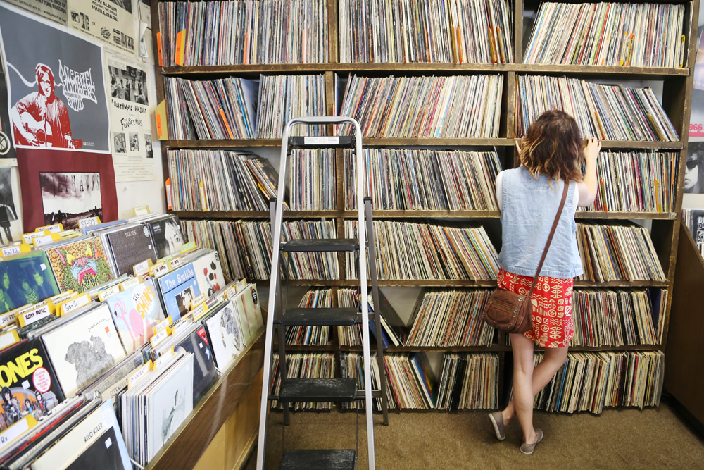 Julie at the record store