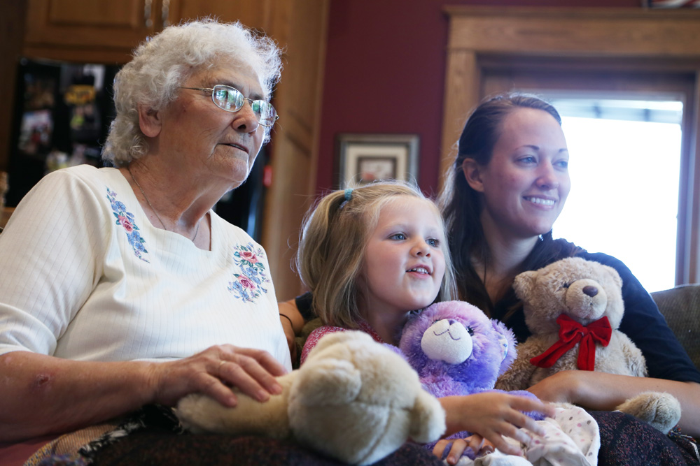 Grandma and me, watching Frozen with Morgan and her teddy bears  Photo by Eric Kreutter