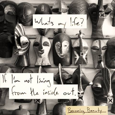 Excerpt from a poem by  my husband . Photo by me of Congolese masks.