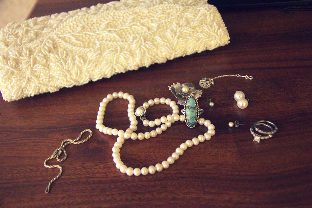 Wedding day jewelry from the women in my and Eric's families.