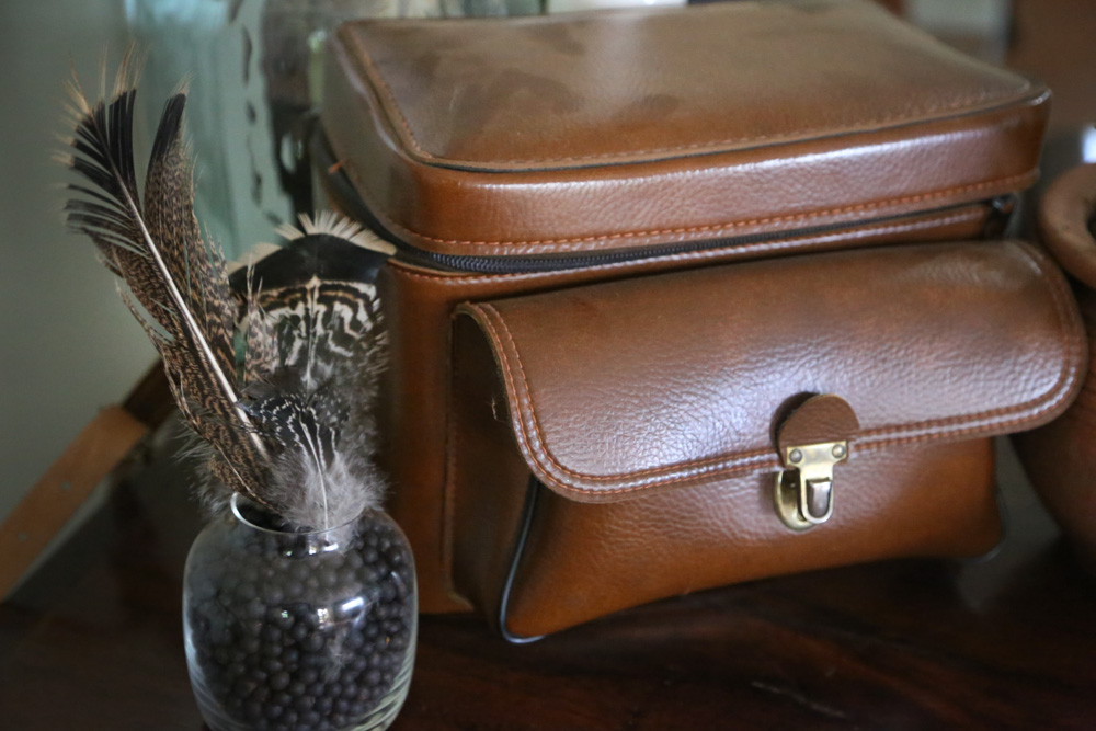 vintage camera bag and turkey feathers