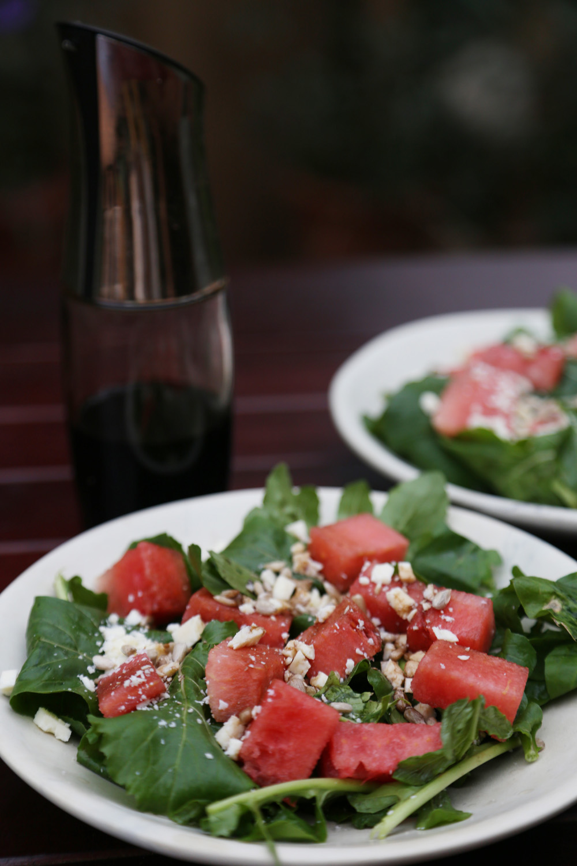arugula, watermelon, feta, and sunflower seeds salad