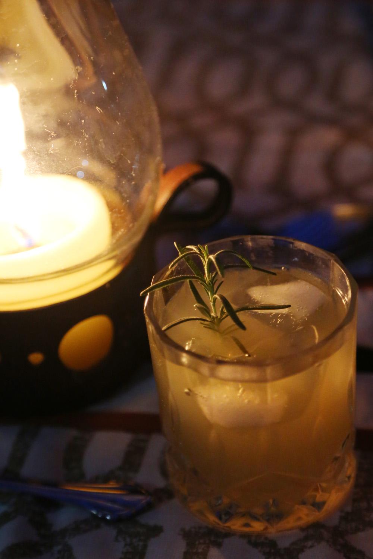 rosemary, pear, lemongrass cocktail