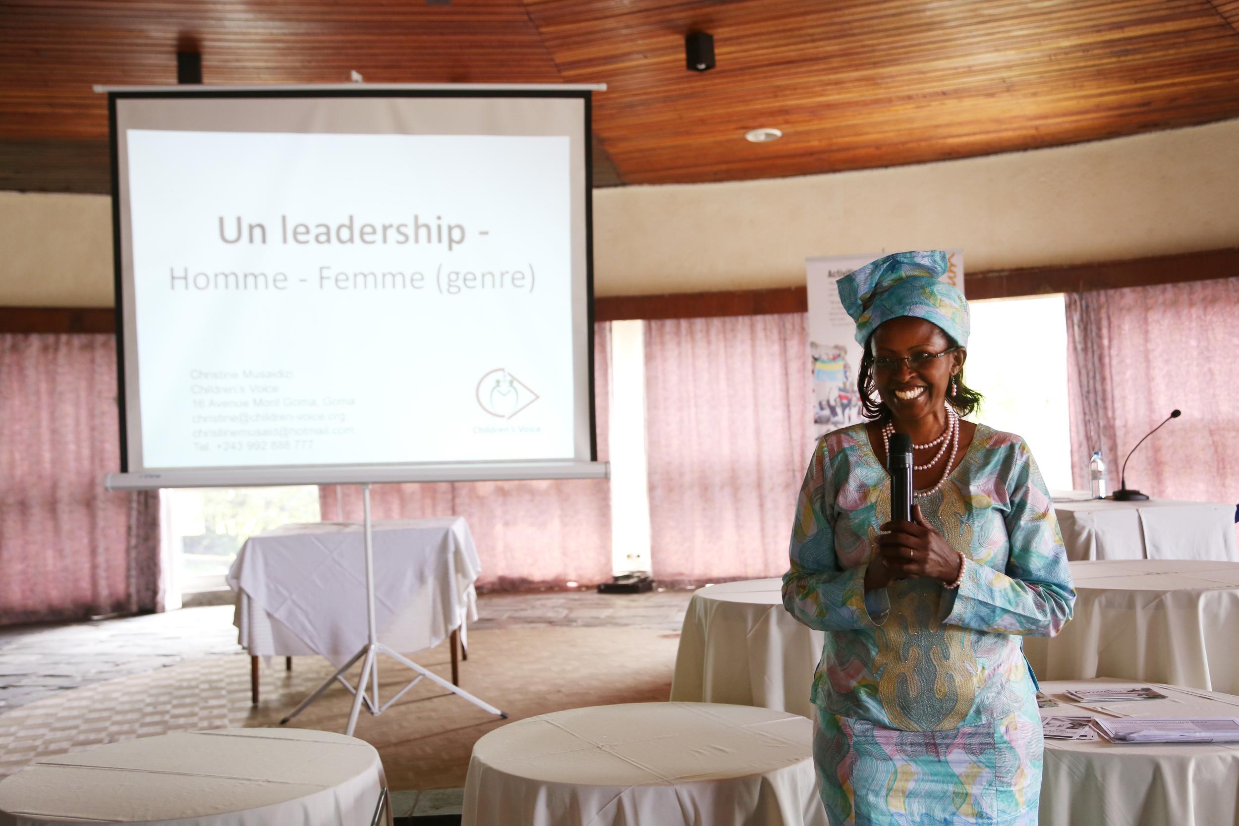 "Christine Musaidizi, director of Children's Voice in Goma, speaking on ""Leadership - Men, Women"""
