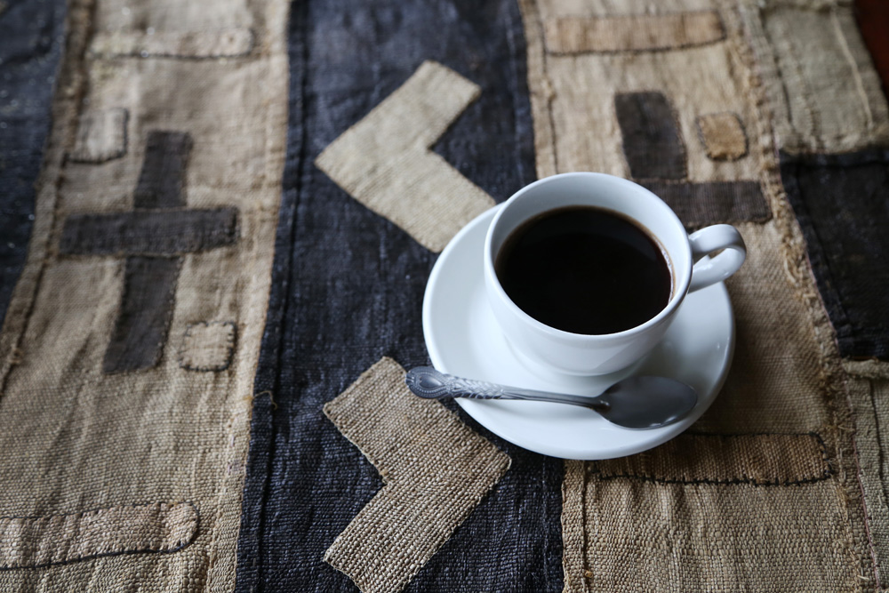 Coffee and Congolese kuba cloth