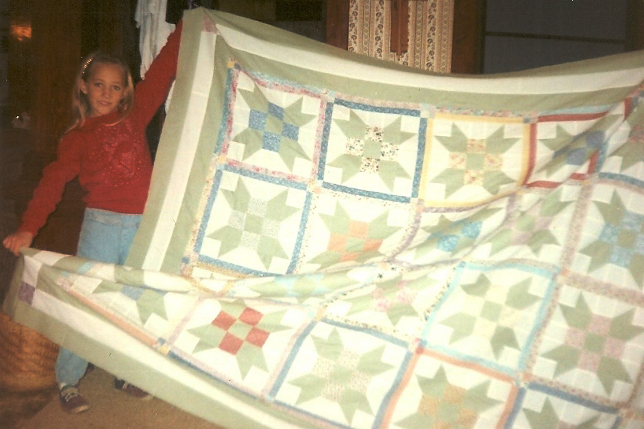 The first quilt my grandmother gave me when I was 8 years old.
