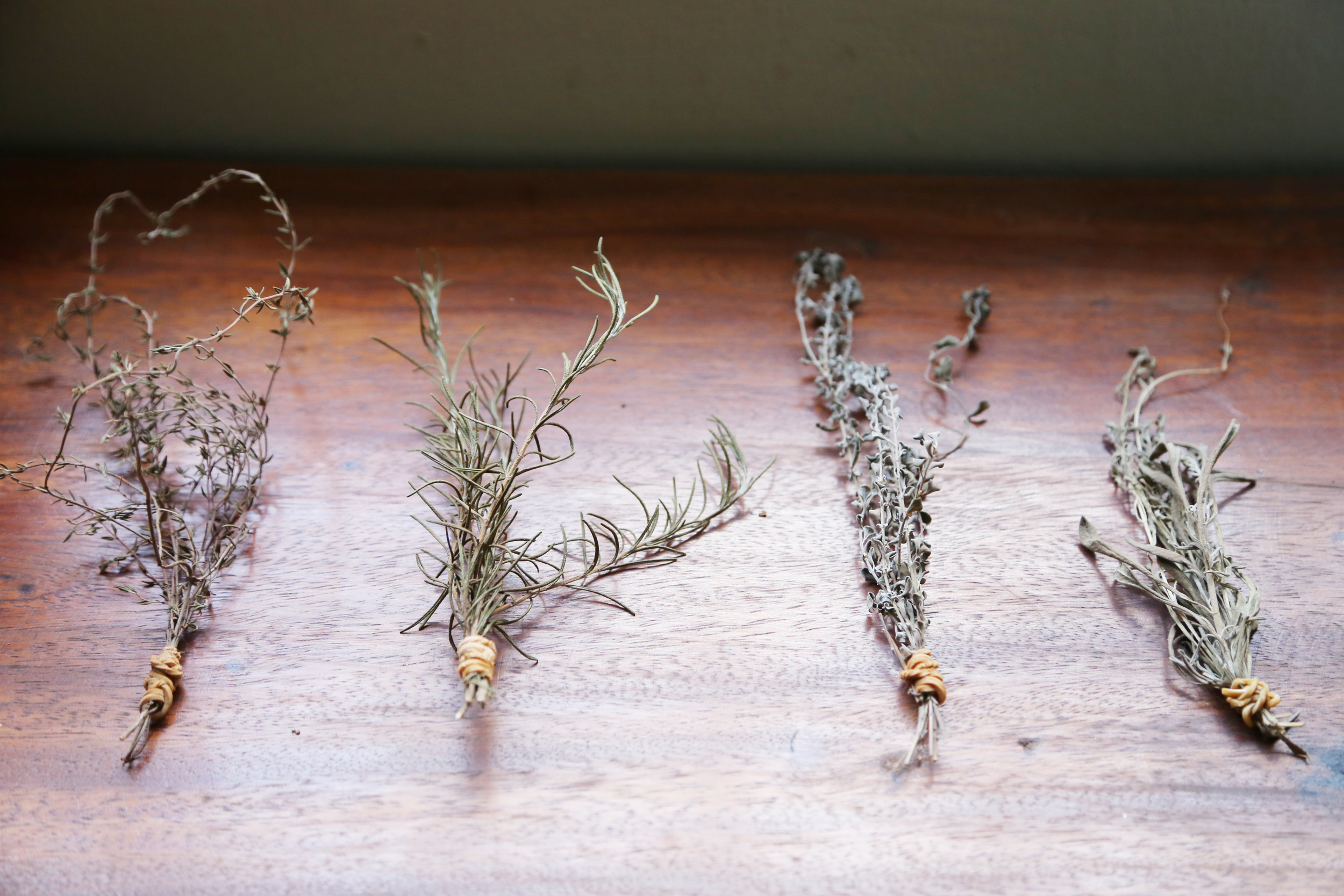 Dried thyme, rosemary, oregano, and lavendar
