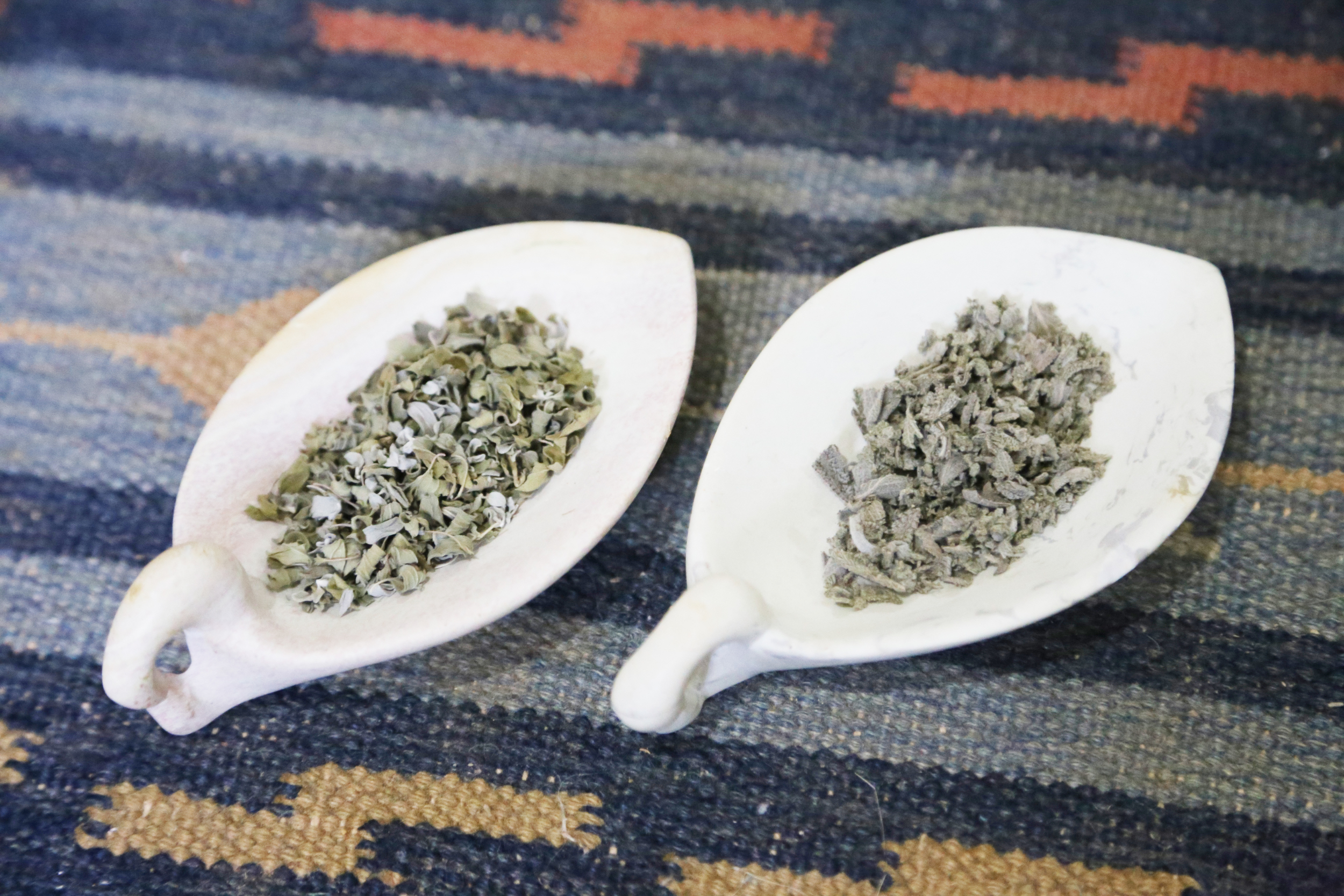Dried oregano and sage
