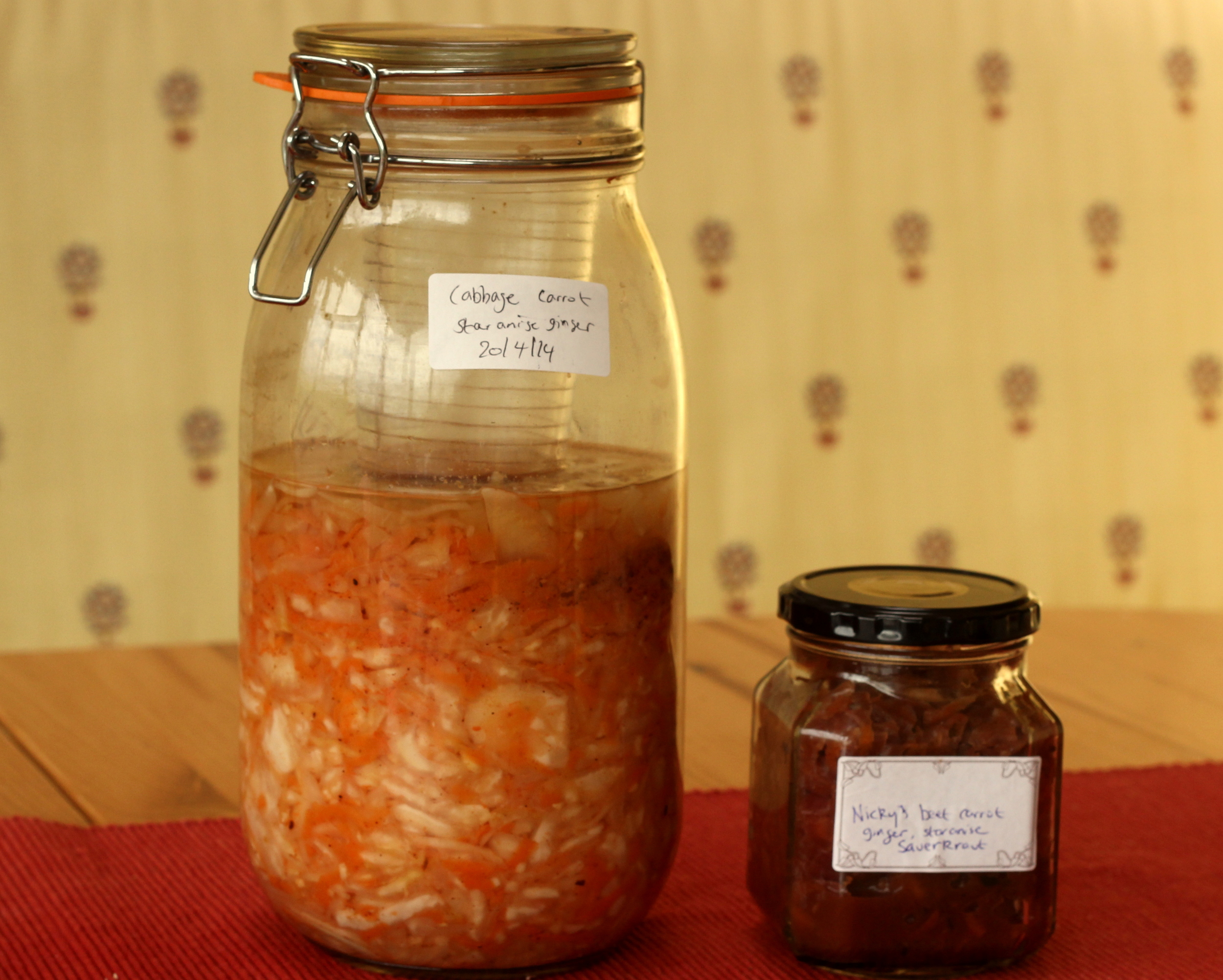 Here is one I fermented in March ready to be enjoyed, and one I started fermenting in April without the beetroot.