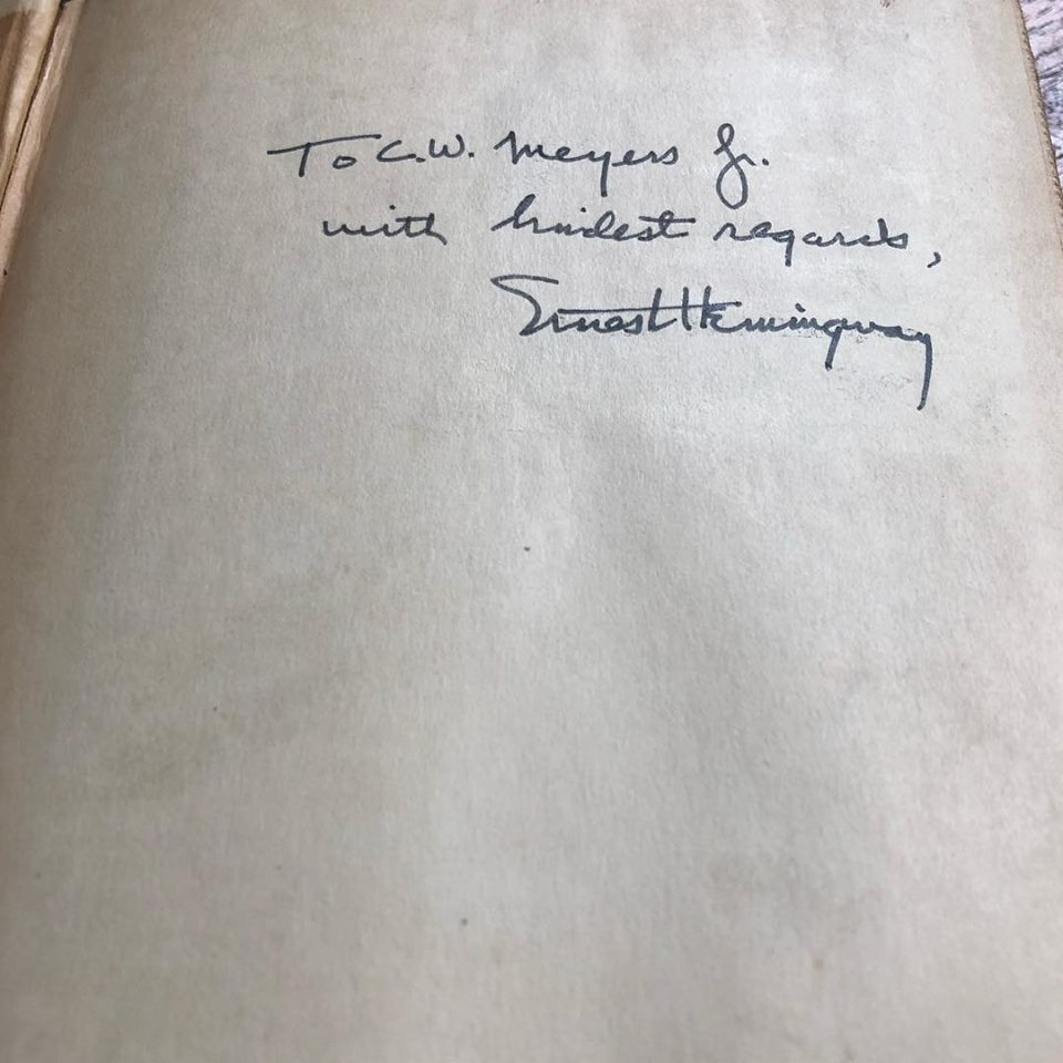 A signed, first edition of For Whom the Bell Tolls by Ernest Hemingway.