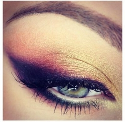 Here the Plum shade was applied in a winged out shape along the lash line and the Orange tone through the socket crease with the Champagne shade used as a base all over the lid and in the inner corner of the eyes.