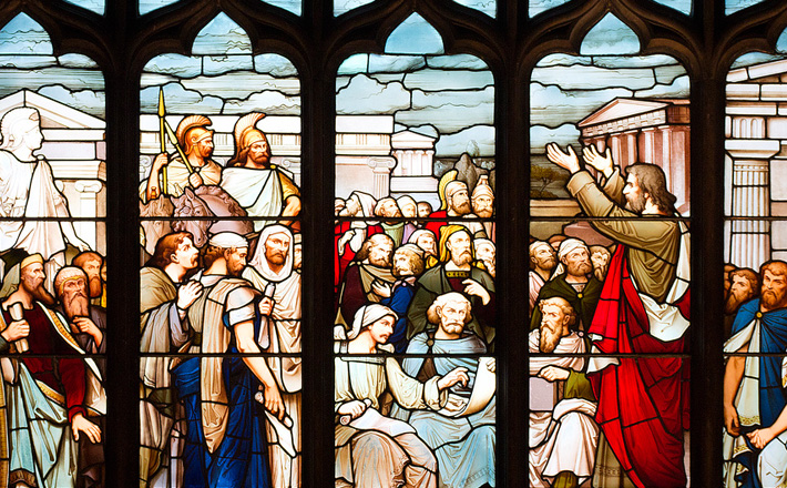 """""""St. Paul preaching in Athens,"""" St. Giles Cathedral, Edinburgh. Image by  Lawrence OP  via Flickr licensed under  CC BY-NC-ND 2.0  ."""