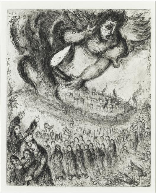 """""""Prise de Jérusalem par Nabuchodonosor selon la prophétie de Jérémie"""" by Marc Chagall ca. 1956. Source:  Wikiart"""