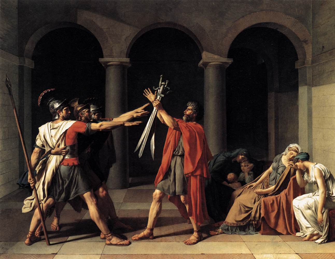 """""""The Oath of the Horatii""""Jacques-Louis David's 1784  The painting was an 18th century touchstone on the ideals of """"civic virtue"""" which became foundational political theory. Source: Wikimedia"""