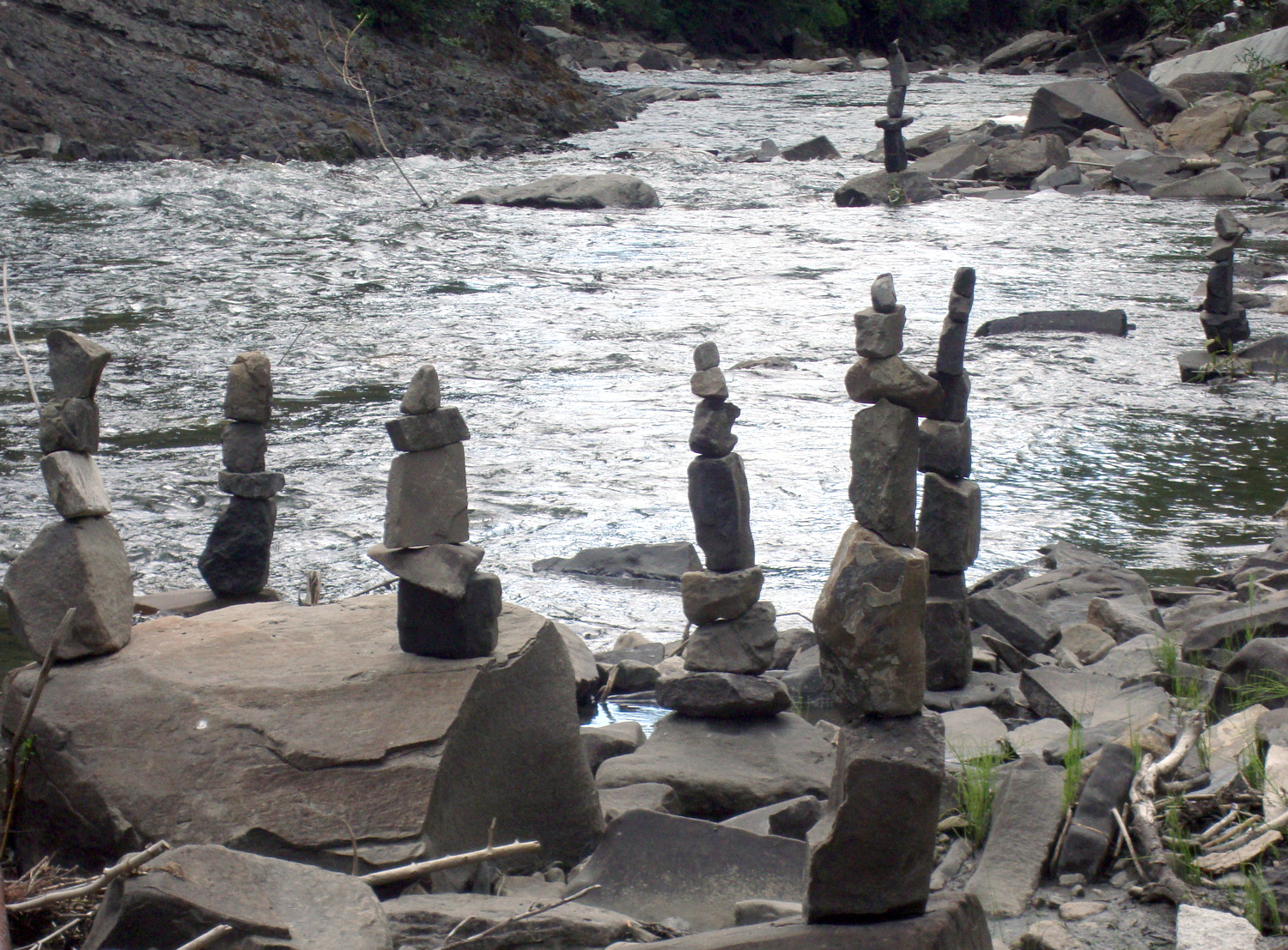 Cairns along the Crystal River, 2012.