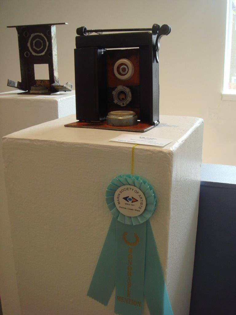 Two of my metal box sculptures on display at the Marin Society of Artists Gallery in San Rafael, CA.
