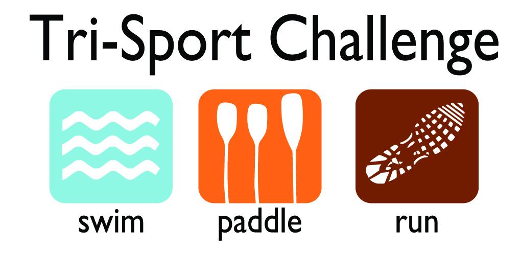 Tri-Sport Challenge Logo, Run, Paddle, Swim